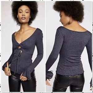 Free People Say When Bell Sleeve Shimmer Top NEW L